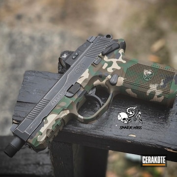Cerakoted Multicam Fn Handgun In H-200, H-146, H-203 And H-226