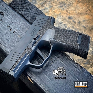 Cerakoted Laser Stippled Sig Handgun In H-237
