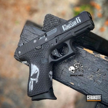 Cerakoted Punisher Themed Glock Handgun In H-146 And H-297