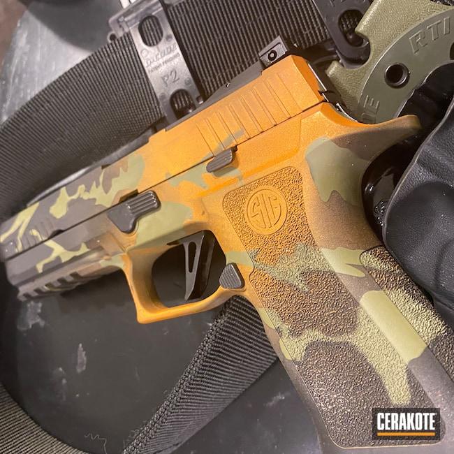 Cerakoted: 9mm,MULTICAM® LIGHT GREEN H-340,Graphite Black H-146,Hunter Orange H-128,Sig 320