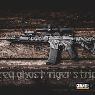 Cerakoted Grey Ghost Tiger Stripe Ar-15 In H-146 And H-214