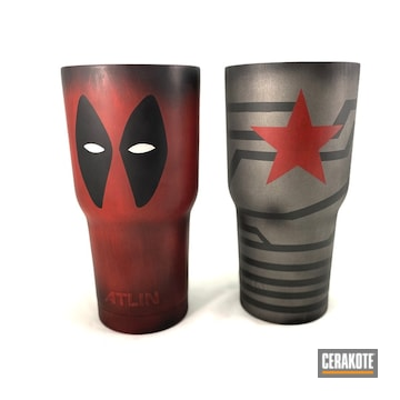 Cerakoted Deadpool And Captain America Themed Tumbler