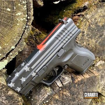 Cerakoted Thin Red Line Glock Handgun In H-146, H-318 And H-227
