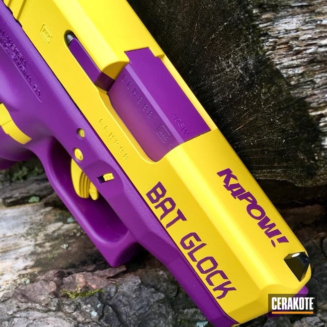Cerakoted: Corvette Yellow H-144,#custom,Bright Purple H-217,Pistol,Glock,Batgirl,Old School Batgirl,Glock 27,.40 S&W,.40