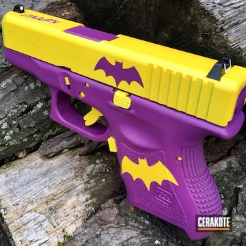 Cerakoted Batgirl Themed Glock 27 In H-144 And H-217