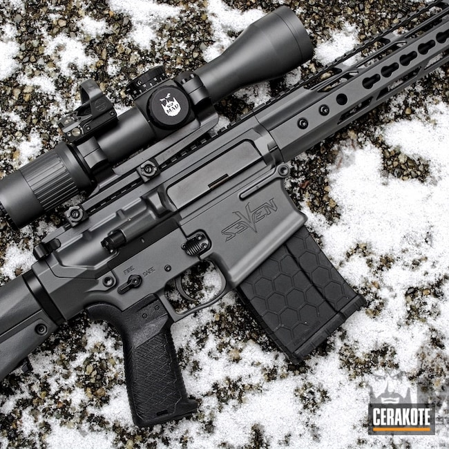 Cerakoted: Rifle,AR-10,Tactical Rifle,Smoke E-120,Concrete E-160,.308