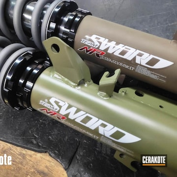 Cerakoted Race Sprint Car Shock Absorbers In H-267, H-189 And H-227