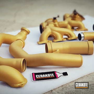 Cerakoted Gold Exhaust And Turbo Parts