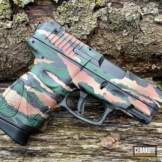 Cerakoted: MAGPUL® FLAT DARK EARTH H-267,Tiger Camo,Pistol,Tiger,Custom Camo,Handgun,9mm,Highland Green H-200,Graphite Black H-146,Federal Brown H-212,Camo,Taurus,Handguns