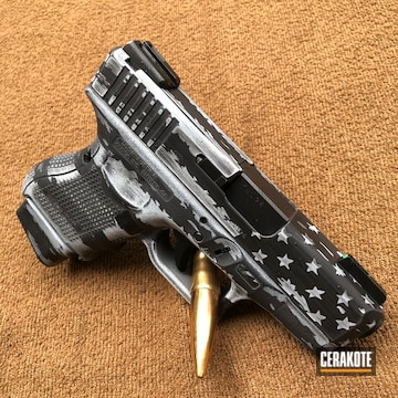 Cerakoted Black And White American Flag Glock 27 In H-140 And H-146