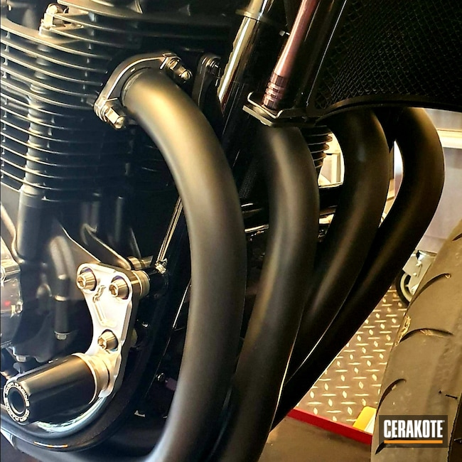 Cerakoted: #custom,Exhaust,Motorcycles,Motorcycle Parts,Automotive,CERAKOTE GLACIER BLACK C-7600,Honda,c7600