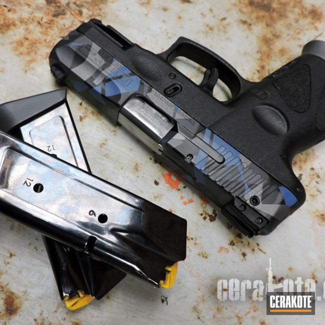 Cerakoted: swedish m90 splinter camo,Magazine,Tactical Grey H-227,Slide,South African,Semi-Auto,Handgun,Sniper Grey H-234,NRA Blue H-171,Graphite Black H-146,Taurus PT111 G2,Splinter Camo,Taurus,Handguns