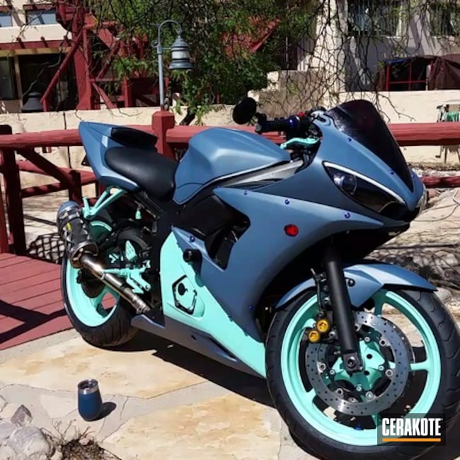 Cerakoted Refinished Motorcycle Fairings In H-175 And C-189