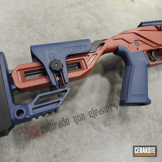Cerakoted Two Tone Ruger Rifle In H-221 And H-127