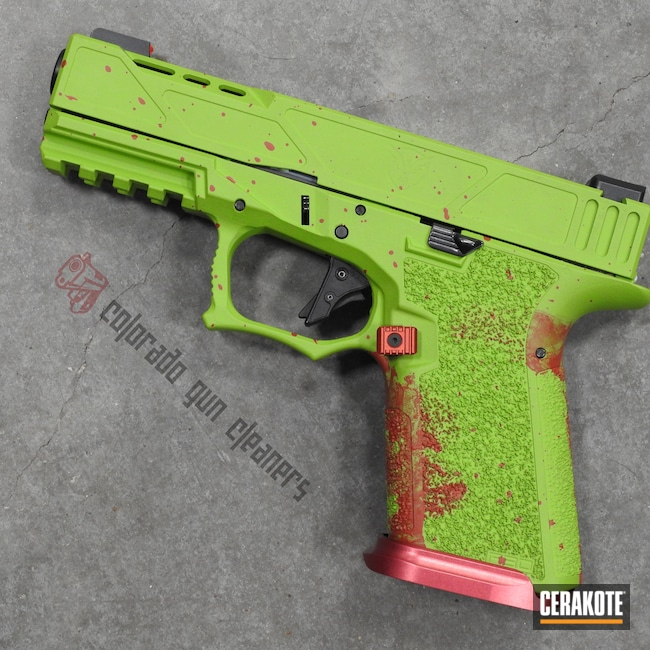 Cerakoted: S.H.O.T,Zombie,FIREHOUSE RED H-216,Zombie Green H-168,Pistol,P80