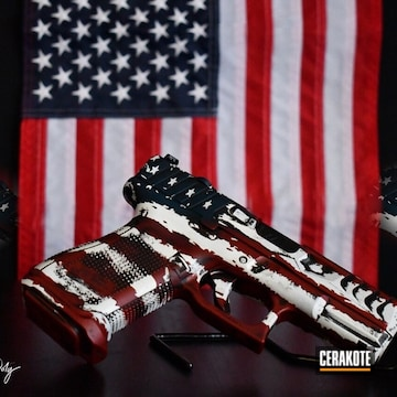 Cerakoted Distressed American Flag Handgun In H-171 And H-216