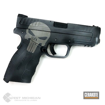 Cerakoted Punisher Themed Springfield Handgun In H-190 And H-219