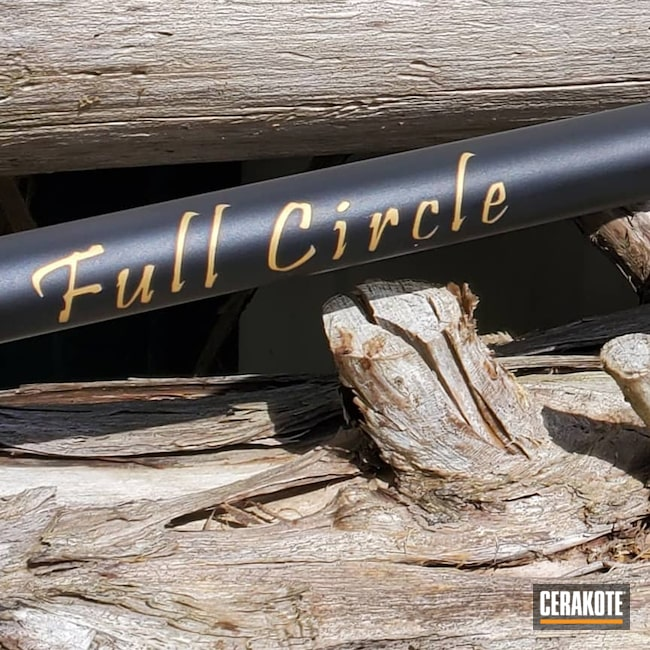 Cerakoted: Rifle,7mm-08,Armor Black H-190,Automotive,Thompson Center,Encore,Gold H-122
