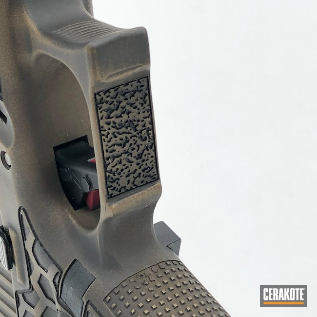 Cerakoted: S.H.O.T,Glock 19,9mm,Custom Glock,Arkycustoms,Battleworn,Graphite Black H-146,Burnt Bronze,Laser Stippling,Burnt Bronze H-148,Pistol,Glock