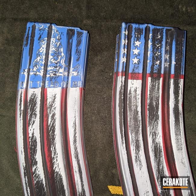 Cerakoted: S.H.O.T,NRA Blue H-171,FIREHOUSE RED H-216,#custom,Graphite Black H-146,Stormtrooper White H-297,American Flag,Magazine,5.56