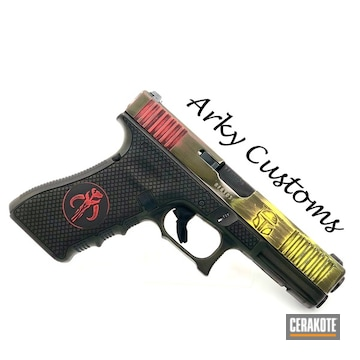 Cerakoted Mandalorian Themed Glock In H-144, H-167, H-236 And H-146