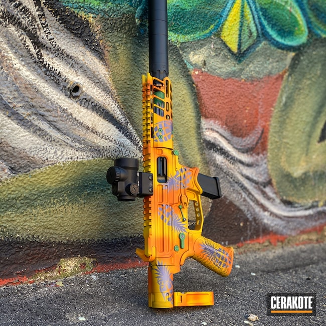 Cerakoted: TEQUILA SUNRISE H-309,SHOT,9mm,Battle Arms Development,Tactical Rifle,SQUATCH GREEN H-316,CRUSHED ORCHID H-314,SUNFLOWER H-317,AR9