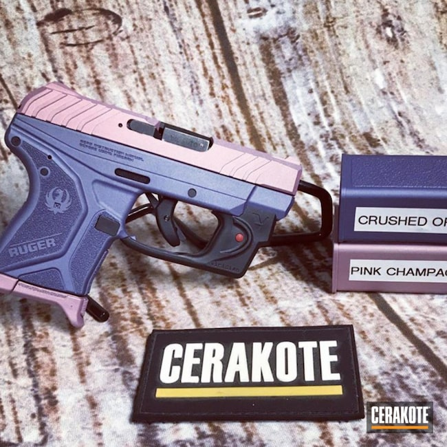 Cerakoted: S.H.O.T,PINK CHAMPAGNE H-311,Ruger,Two Tone,Pistol,CRUSHED ORCHID H-314,LCP 2