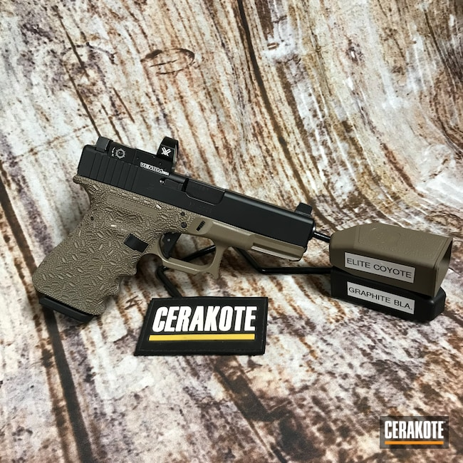 Cerakoted: S.H.O.T,Glock 19,Graphite Black H-146,Coyote M17 Tan E-170,Pistol,Glock