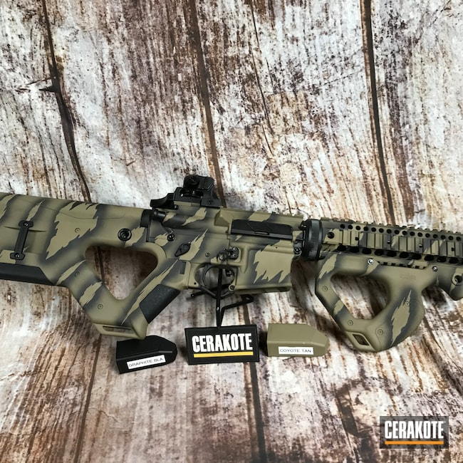 Cerakoted: S.H.O.T,Coyote Tan H-235,Graphite Black H-146,Tactical Rifle,Before and After,AR-15