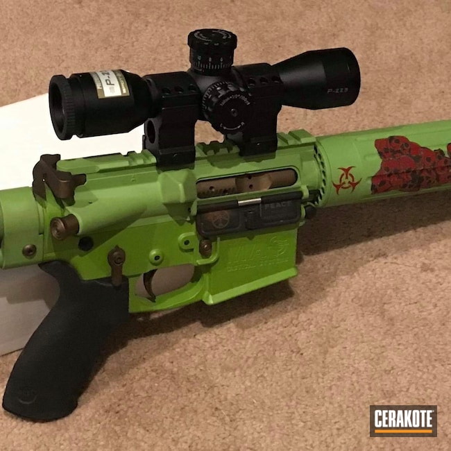 Cerakoted: S.H.O.T,Skull,Graphite Black H-146,Zombie Green H-168,Crimson H-221,Tactical Rifle,.223,AR-15