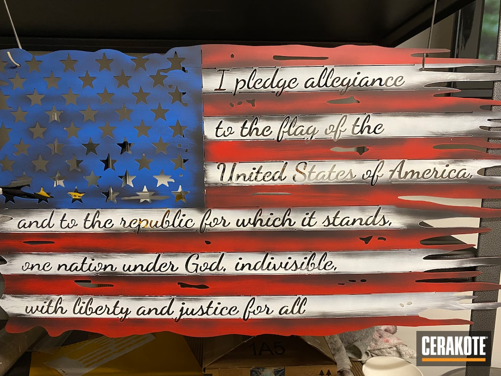 Custom Metal American Flag Coated With Stormtrooper White Usmc