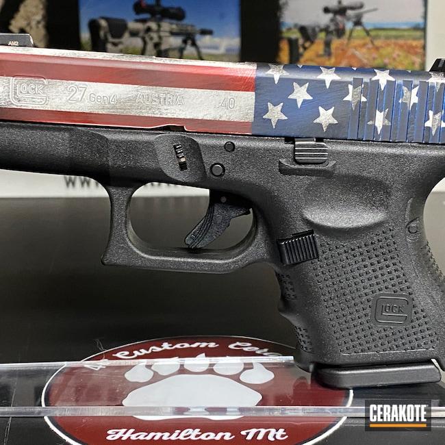 Cerakoted: SHOT,Glock 27 Gen4,NRA Blue H-171,Graphite Black H-146,Stormtrooper White H-297,Distressed American Flag,Crimson H-221,Pistol,Glock,Glock 27,.40 S&W,.40