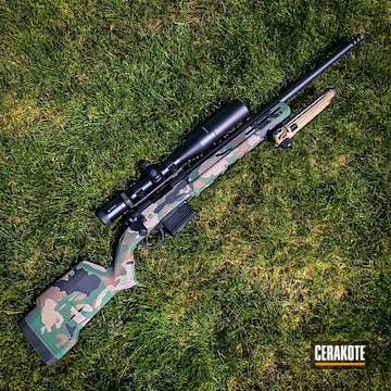 Cerakoted Woodland Camo Pattern In H-200 And H-146