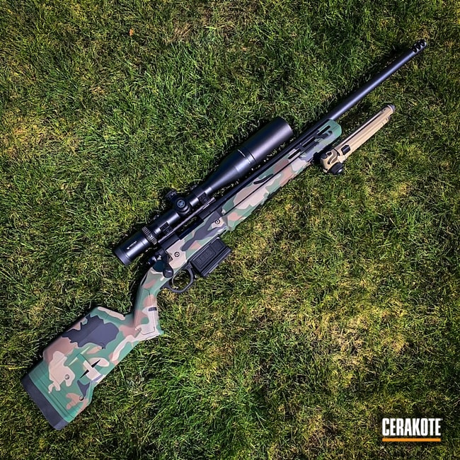 Cerakoted: S.H.O.T,Bolt Action Rifle,M81,Highland Green H-200,Woodland Camo Pattern,MultiCam,Graphite Black H-146,Woodland Camo,Camo,m81 Camo
