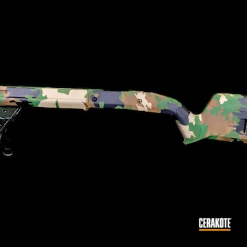 Cerakoted Multicam M81 Rifle Stock In H-200 And H-146
