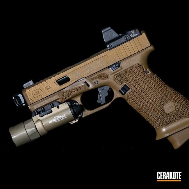 Cerakoted: S.H.O.T,Custom Glock,Burnt Bronze H-148,Pistol,Glock,Glock 19X
