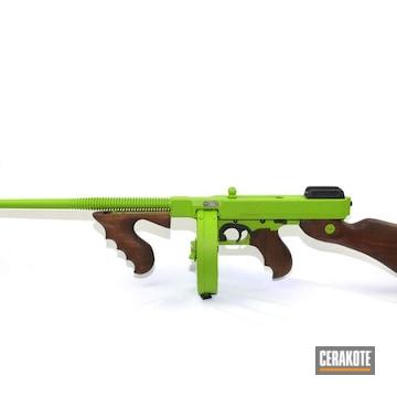 Cerakoted Bright Green Tommy Gun In H-168