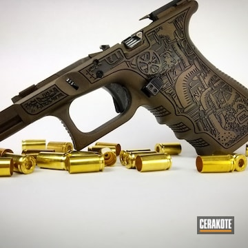 Cerakoted Laser Stippled Glock Frame In H-294