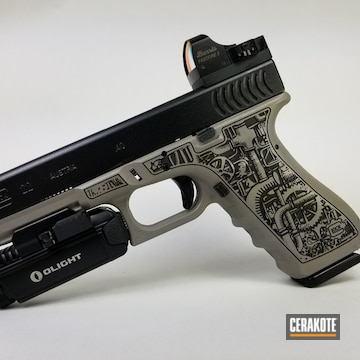 Cerakoted Laser Stippled Glock 22 Handgun In H-139