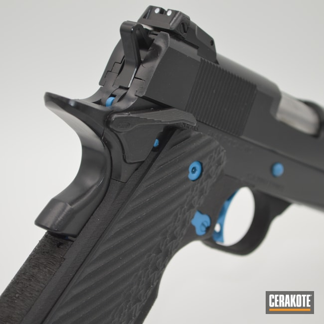 Cerakoted: S.H.O.T,Conceal Carry,BLACKOUT E-100,Officer,COS11,Cosaint Arms,Pistol,1911,His and Hers,Production Custom