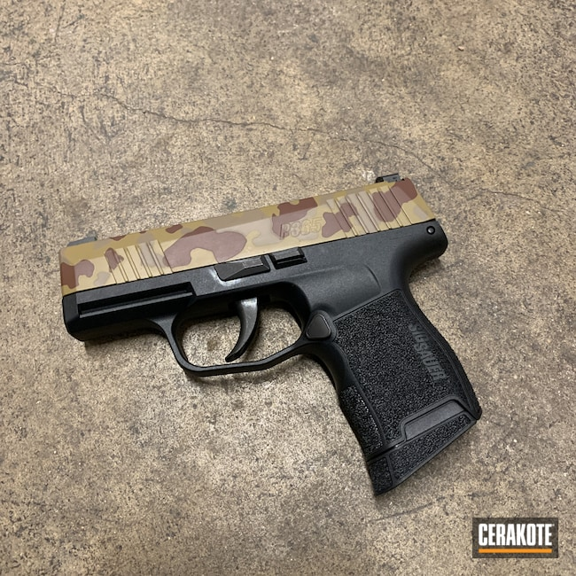 Cerakoted: S.H.O.T,9mm,Sig P365,MAGPUL® FLAT DARK EARTH H-267,MultiCam,MULTICAM® OLIVE H-344,Pistol,Sig Sauer,MULTICAM® DARK BROWN H-342
