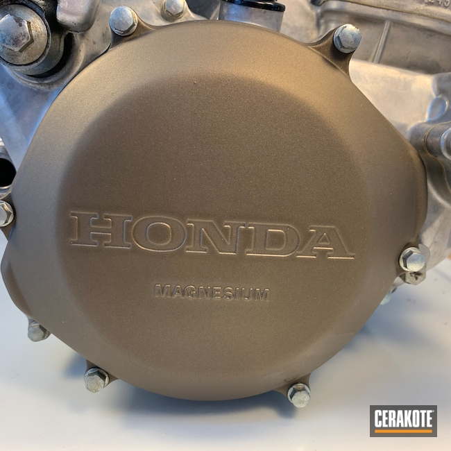 Cerakoted: Motorcycle Engine,Motorcycles,Motocross,Motorcycle Parts,Burnt Bronze C-148,Automotive,Dirt Bike,Honda,Clutch Cover,Motorcycle