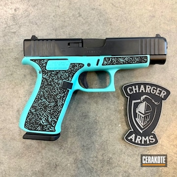 Cerakoted Laser Stippled Glock 48 Handgun In H-175