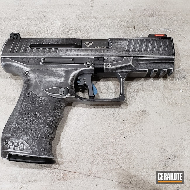 Cerakoted: Hidden White H-242,S.H.O.T,9mm,Walther,Armor Black H-190,Pistol,ppq