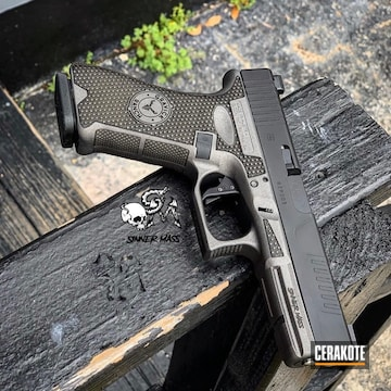 Cerakoted Laser Stippled Two Tone Glock In H-237 And H-146