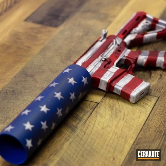 Cerakoted: S.H.O.T,NRA Blue H-171,Soda Launcher,Can Cannon,AR,Stormtrooper White H-297,USMC Red H-167,Tungsten H-237,American Flag,X Products