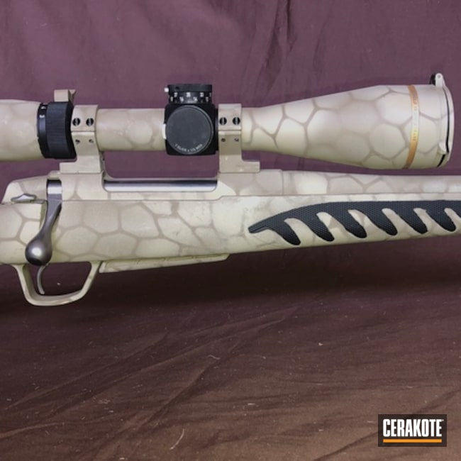 Cerakoted Hex Pattern Bolt Action Rifle In C-212, C-240 And C-30372