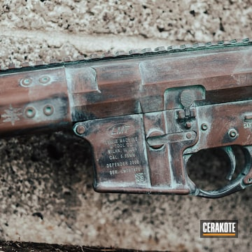 Cerakoted Copper Patina Themed Lmt Rifle In H-175, H-146 And H-212