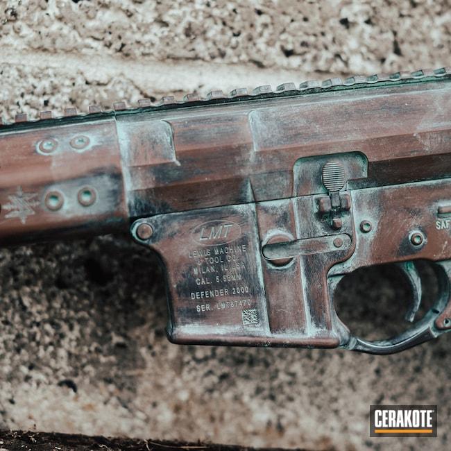 Cerakoted: S.H.O.T,Robin's Egg Blue H-175,Graphite Black H-146,Copper Corrosion,Federal Brown H-212,Copper Patina,Tactical Rifle,Corroded Copper,LMT