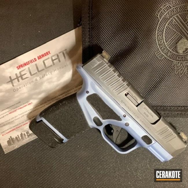 Cerakoted: S.H.O.T,9mm,Battleworn,Blue,Armor Black H-190,Pistol,Springfield Armory,Sword and Shield,Hellcat,POLAR BLUE H-326